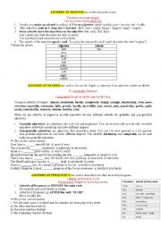 English Worksheet: Adverbs of degree, manner and frequency