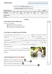 English Worksheet: test 9th grade volunteering - test A