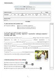 English Worksheet: test 9th grade volunteering - special needs