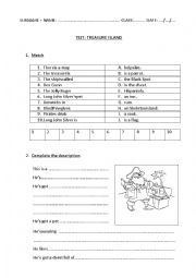 English Worksheet: Treasure Island Test