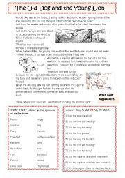 English Worksheet: The Dog and the Lion: a fable
