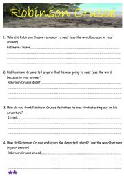 English Worksheet: Robinson Crusoe Ch 1 & 2 comprehension questions with basic writing frame