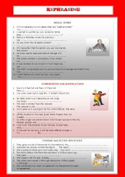 English Worksheet: REPHRASING EXERCISES