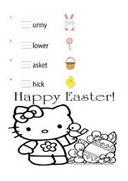 English Worksheet: Easter phonics blend review. Hello Kitty and Spongebob. With coloring and crossword