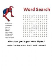 English Worksheet: Superman, Avengers, Spiderman, Dr Suess rhyme time!