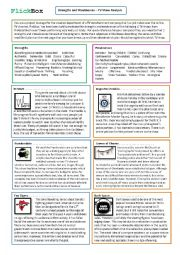 English Worksheet: Strength and Weakness Adjectives - TV - Exercise and debate