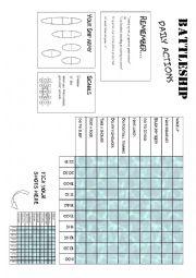 English Worksheet: Battleship daily actions