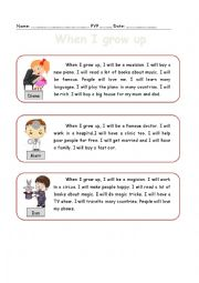 English worksheet: When I grow up, a reading comprehension passage