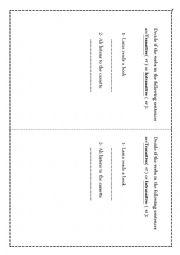 English Worksheet: Transitive or Intransitive