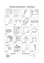 English worksheet: Picture Dictionary – Furniture