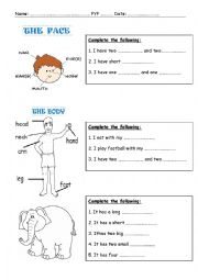 English worksheet: Verb to have + Parts of the body