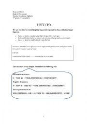 English worksheet: Used to - Relative Pronouns