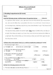 English worksheet: test for grade 5