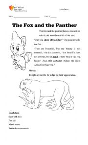 English worksheet: The fox and the panther (fable)