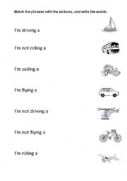 English worksheet: Driving, sailing, flying