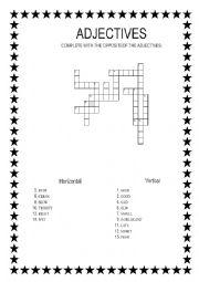 English worksheet: ADJECTIVES CROSSWORD