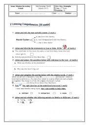 English worksheet: exam 2 nd form