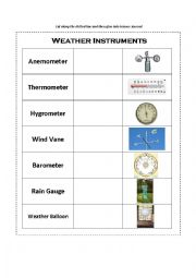 english worksheets weather instruments. Black Bedroom Furniture Sets. Home Design Ideas