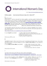 English Worksheet: International Women´s Day - Writing tasks