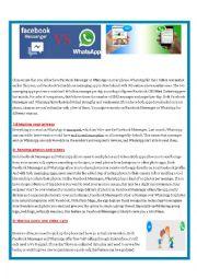 English Worksheet: WhatsApp vs Facebook Messenger  (reading and speaking activities)
