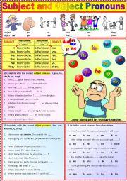 English Worksheet: Subject and Object Pronouns + Exercises + KEY