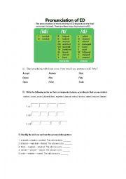 English Worksheet: Pronunciation of ED in verbs