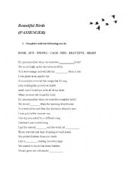 English Worksheet: Beautiful Birds (Passenger)
