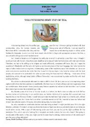 English Worksheet: Test - Volunteering is my cup of tea