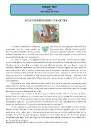 English Worksheet: Test - Volunteering is my cup of tea