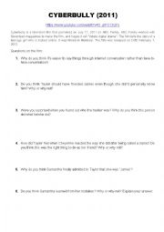 Cyberbully - questions and opinion essay