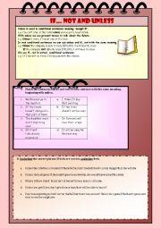 English Worksheet: If... not vs unless
