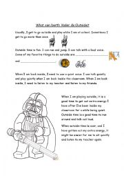 English Worksheet: Star Wars social skills . What can I do outside? Color by numbers and create a character.