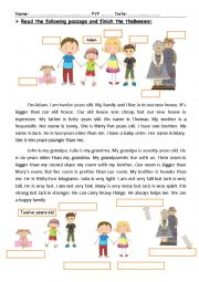 English worksheet: A reading comprehension passage about family. Focusing on comparative adj.