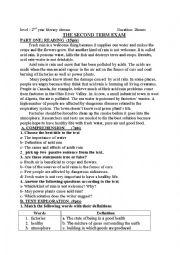 English Worksheet: acid rain