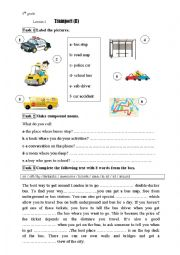 English Worksheet: Module 4 Lesson 2 transport (II) 8th grade