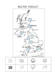 English Worksheet: Weather Forecast activity