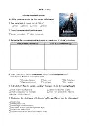 English Worksheet: film I- Robot
