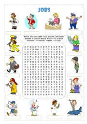 English Worksheet: Jobs Wordsearch and Matching
