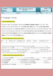 English Worksheet:   mid - semester test 2  7th grade