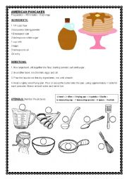 English Worksheet: Kitchen Class: Pancakes