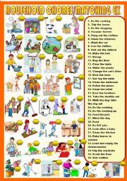 English Worksheet: household chores :new matching