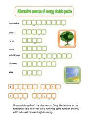 English Worksheet: alternative energy word puzzle