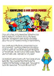 English Worksheet: Spiderman, Superhero writing and reading comprehension. Describe who what when where.