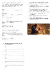 English Worksheet: Video lesson Movie Trailer The Beauty and the Beast