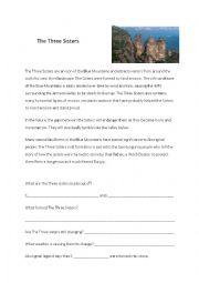 English Worksheet: The Three Sisters, Sydney Australia