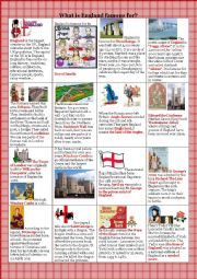 English worksheet:                                     What is England famous for?
