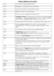 english worksheets african amercian civil rights the important dates. Black Bedroom Furniture Sets. Home Design Ideas