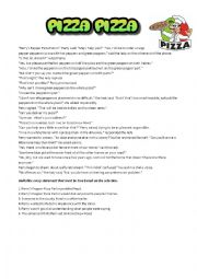 English Worksheet: Pizza. Mickey Mouse, Bugs Bunny, Garfield, Avengers, reading and comprehension questions, word search