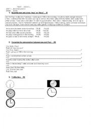 English Worksheet: TEST. EVERYDAY ACTIVITIES & TELLING THE TIME