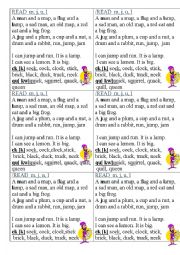 English Worksheet: Cards for teaching reading